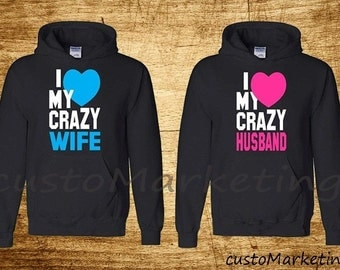 Couple Hoodie - I Love My Crazy Wife & Husbund - couple hooded sweatshirt CIT Matching Hoodies Valentines Day Cute Hoodies Shirts