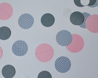 Sweet Dottie Garland, pink and gray, pink and gray garland, pink garland, pink bunting, gray bunting, pink nursery, pink decoration