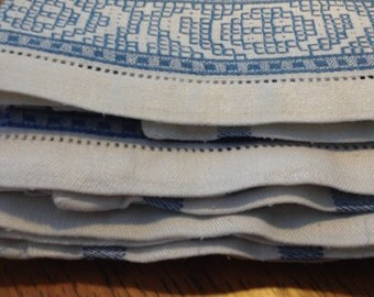 3 Blue and White Teatowels or Hand Towels from the 1960s Cotton