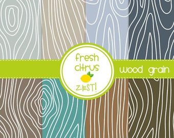 Wood Grain Digital Paper for Scrapbooking Invitations Cards and Party Decor