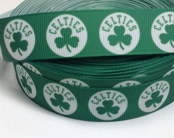 "4 Yards of 7/8"" Celtics Grosgrain Ribbon"