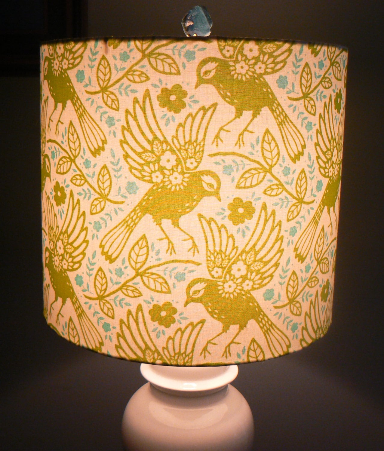 meadow lark drum lamp shade chartreuse and teal by liteandshadow. Black Bedroom Furniture Sets. Home Design Ideas
