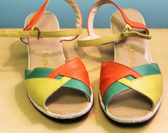 Sunshine Sandals! Yellow, Green and Orange (airstep) Strappy US8.5/9