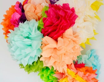 12 paper flower pom poms set --multicolored garland --party / nursery / kids room decoration