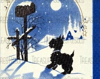 Retro Terrier Black Scottie Dog Christmas Card #125 Digital Download