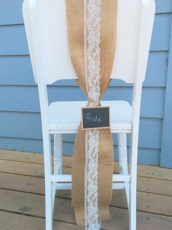 Wedding Burlap Chair Sash With Lace And Chalkboard Set Of 2