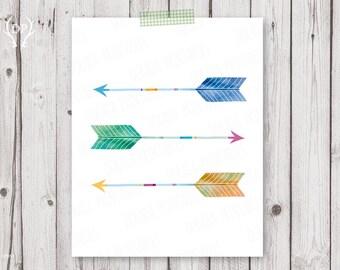 Arrow print art | Arrows watercolor printable art nursery tribal wall decoration | instant download