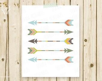 Five tribal arrows, printable, nursery wall art, tribe graphics, kids room decoration, artwork instant download