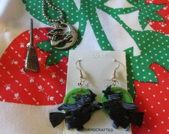 Halloween Witch Jewelry Earrings, Necklace, and Broom Pin Whimsical
