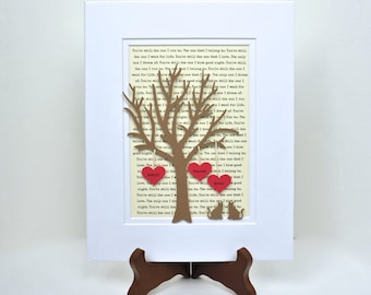 Couples Gift- Personalized Anniversary or Wedding Gift - 3D Paper Tree with Hearts - 1st Anniversary Gift- Paper Annive