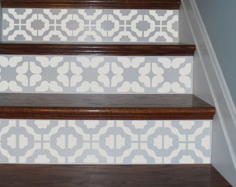 Vinyl Stair Riser Tile Decals . Metro Retro Staircase Stairwell Wall Border  Decor Stickers . Your