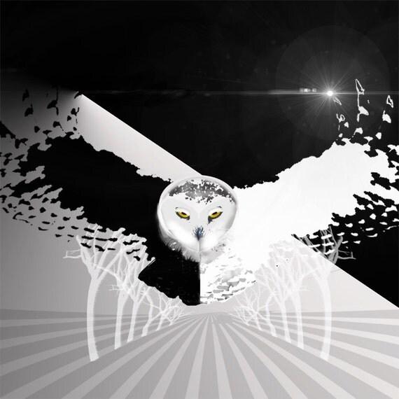 Owl Print Snowy Owl Flying Printable Wall Art Home Decor