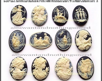 12 Asst. Styles Ivory color on Black 40mm x 30mm Resin GODDESS  CAMEOS LOT A for Making Costume Jewelry