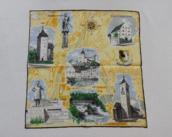 Sale - Vintage Unused Swiss Stoffels 1960s Souvenir Hankie Handkerchief Landmarks of the Schaffhausen Canton