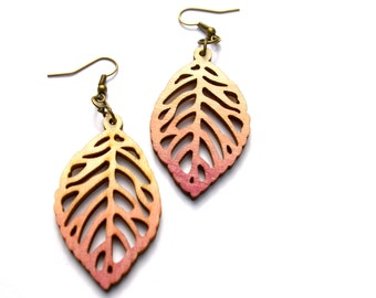 Dangle Earring - Wood Earrings - Leaf Earrings - Ombre Earrings - Wood Leaf Earrings