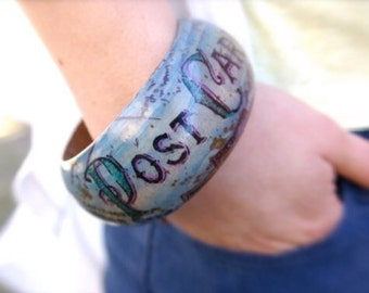 Wood Bangle - Travel Jewelry - Chunky Jewelry - Chunky Bracelet - Vintage Bracelet