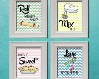 Sweet Quotes Chevron Kitchen Art (Printables) 8x10 Set | Wall Print | Kitchen Decor