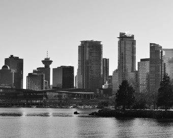 Downtown Vancouver From Stanley Park - British Columbia, Canada - Black & White Photo Poster Wall Art Image - 8x10 or 16x20