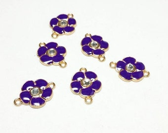 6pcs Enamel Flower Connectors Links in Purple with Rhinestone - CON.2015
