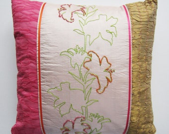 Embroidered silk cushion with beaded lily design