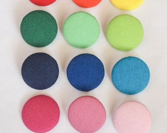 Solid colorful  fabric covered buttons (size 60, 40, 32, 20, or 18)