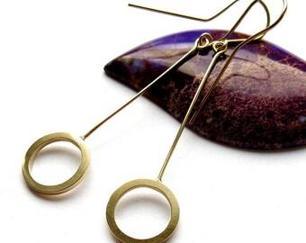 Earrings, dangling wheels, 14mm
