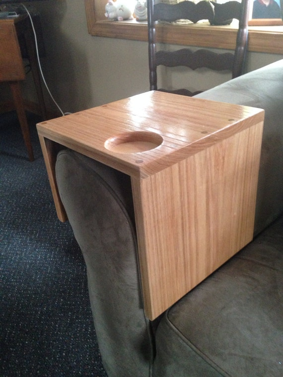 Items Similar To Solid Oak Couch Arm Wrap With Cup Holder
