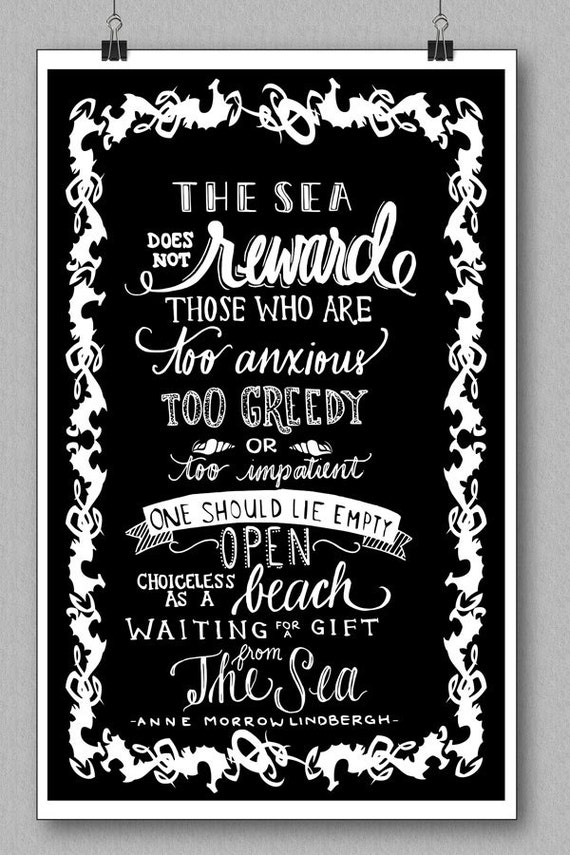 Anne Morrow Lindbergh Quote Art Print The Sea Does Not Reward Sik Screen Print On Art Stock