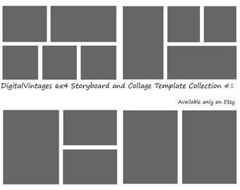 Instant Download- 6x4 Storyboard Photographers Template 4 Different Photoshop Digital Collage Templates Photo Blog Board Collection #1