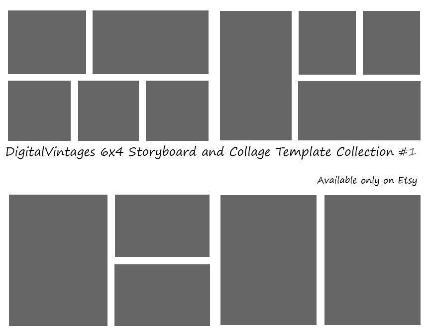 4 picture collage template - instant download 6x4 storyboard photographers template 4