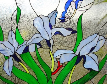 Marvelous!  Iris & Butterfly Stained glass window (We do custom work! Please email me for a quick quote)