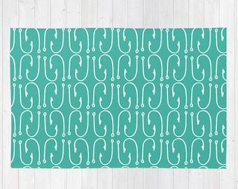 Lake Rug, Turquoise Blue Rug, Fish Hooks Throw Rug, Lake Decor, Nursery Rug, Fishing Decor, 3x5 rug, large rug, woven rug, choose color