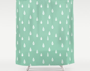 45 Colors Shower Curtain Rain Seafoam Mint