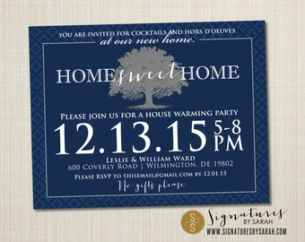 Printable HOUSE WARMING invite elegant tree navy blue
