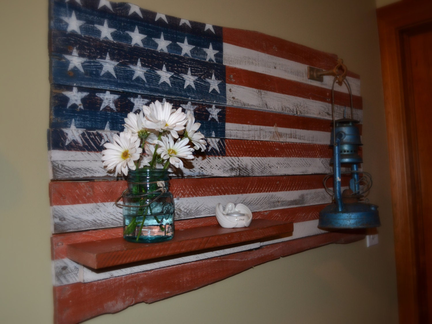 American flag pallet art with shelf and old by northeastreclaimed - American flag pallet art ...