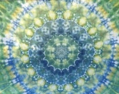 FRACTALS ~ 16 Point Tie Dye Mandala Tapestry ~ Wall Hanging ~ Twin Size