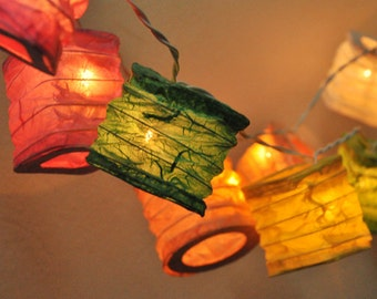 35 Bulbs Paper Lantern String Lights Colourful Colour for Party Wedding and Decorations