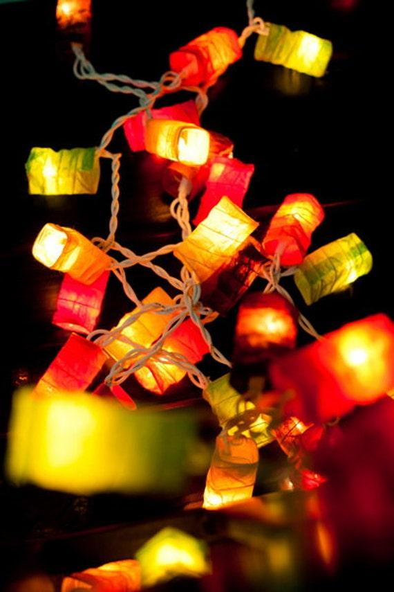 Paper Lantern String Lights Wedding : 35 LED Bulbs Paper Lantern String Lights Mixed Colour for