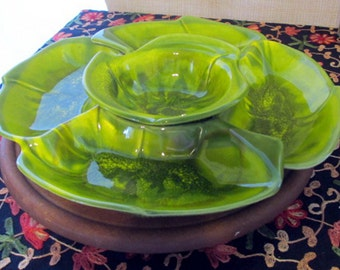 Vintage California Pottery Chip and Dip Set on Lazy Susan
