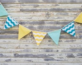 Pennants fabric flag banner, Fabric Bunting, Flags in Summer beach blue, yellow, Aqua Wave