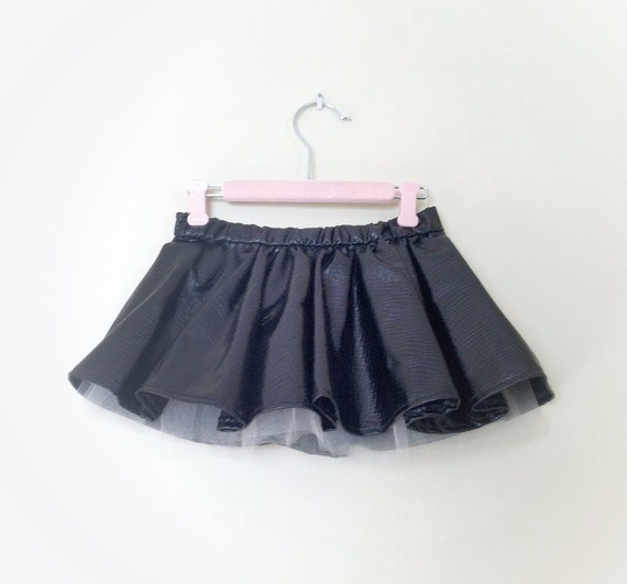 Black Faux Leather Skirt Baby girl