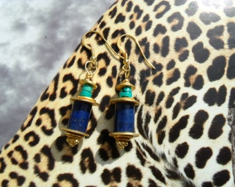 Lapis turquoise earrings gold