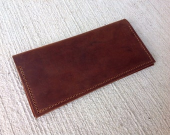 Handmade Brown Leather Checkbook Cover