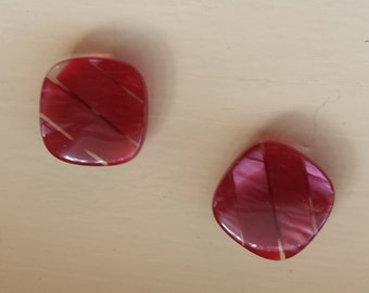 Two ruby red vintage buttons in good vintage condition