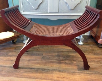 Vintage Angelo Egyptian bench with cane seat