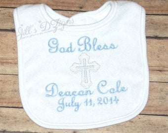 Personalized Monogram Baptism/ Christening/ Dedication Bib, Boy or Girl.