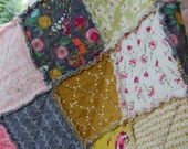 Rag Quilt - Twin Size Rag Quilt - Girl Quilt - Raggy Quilt - Pink, Yellow, Flowers - Vintage Patchwork - Emmy Grace Quilt