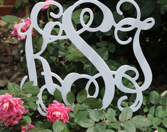 Personalized Three Letter Monogram Garden Flower Pick