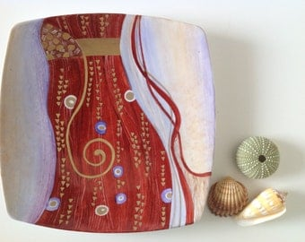 Home decor wall hanging plate klimt Wall art Home decorative plate Wall decor mother's day