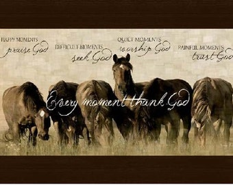 Happy Moments Praise God Horse Beige Western Picture Framed Art  10x16""